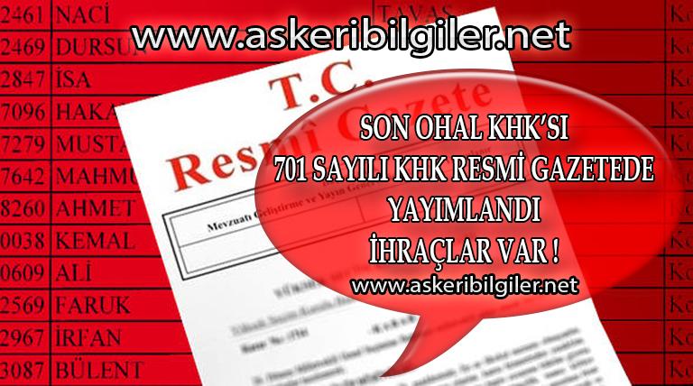 Son Ohal KHK'sı Resmi Gazete'de Yayımlandı ! İhraçlar Var !