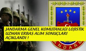 Jandarma Lojistik Branşlı Uzman Erbaş Sonuçları Açıklandı !