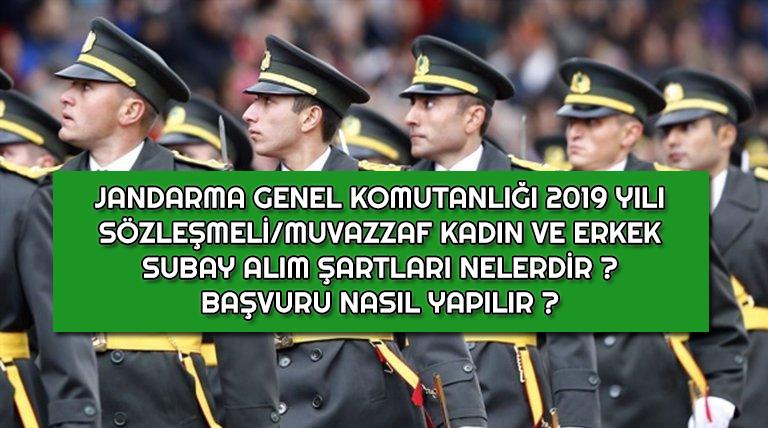 2019 Yılı Jandarma Bay ve Bayan Subay Alımı Başladı !