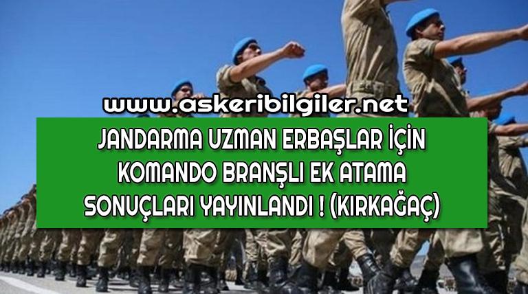 Jandarma Uzman Erbaş Komando Kırkağaç Ek Atama Duyurusu !