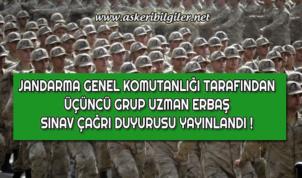 Jandarma Uzman Erbaş 2019 Yılı Birinci Dönem 3. Grup Sınav Çağrısı Duyurusu Yayınlandı !