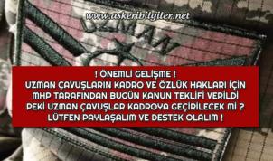Uzman Çavuşlara Kadro Verilmesi İçin MHP Milletvekili İzzet Ulvi Yönter Tarafından Kanun Teklifi Verildi !