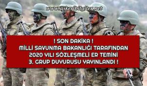 Kara Kuvvetleri Komutanlığı Sözleşmeli Er Temini 3. Grup Duyurusu Yayınlandı !