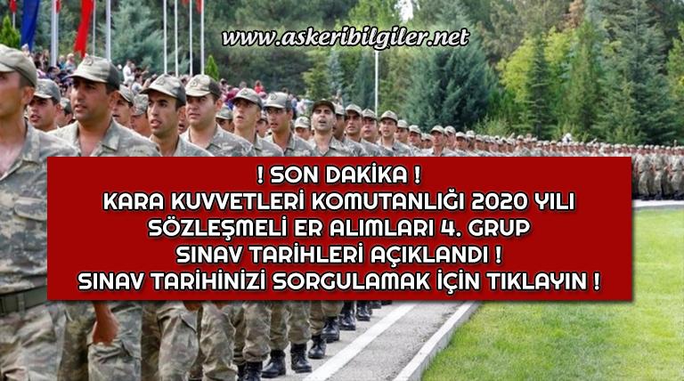 Kara Kuvvetleri Komutanlığı 2020 Sözleşmeli Er Alımları 4. Grup Sınav Çağrı Duyurusu Yayınlandı !