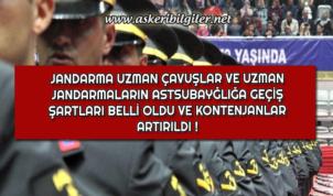Jandarma Uzman Çavuşlar ve Uzman Jandarmaların Astsubaylığa Geçiş Şartları Belli Oldu !